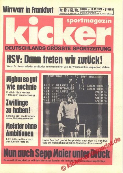Kicker Sportmagazin Nr. 101, 14.12.1978 bis 20.12.1978