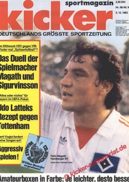 Kicker Sportmagazin Nr. 98, 5.12.1983 bis 11.12.1983