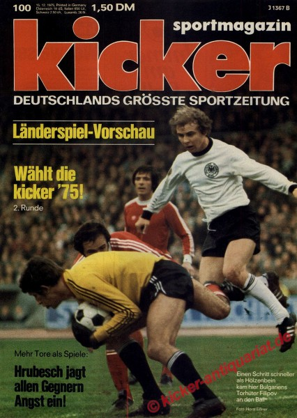Kicker Sportmagazin Nr. 100, 15.12.1975 bis 21.12.1975