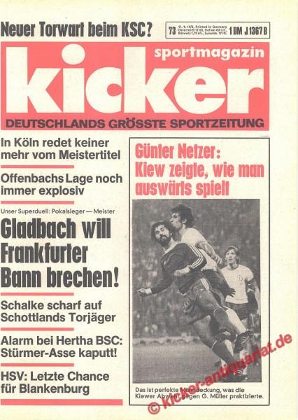 Kicker Sportmagazin Nr. 73, 11.9.1975 bis 17.9.1975