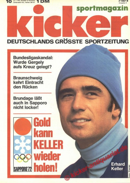 Kicker Sportmagazin Nr. 10, 31.1.1972 bis 6.2.1972