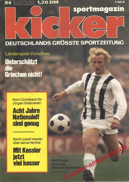 Kicker Sportmagazin Nr. 94, 18.11.1974 bis 24.11.1974