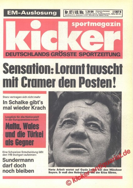 Kicker Sportmagazin Nr. 97, 1.12.1977 bis 7.12.1977