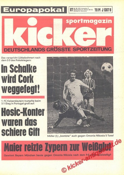 Kicker Sportmagazin Nr. 87, 26.10.1972 bis 1.11.1972