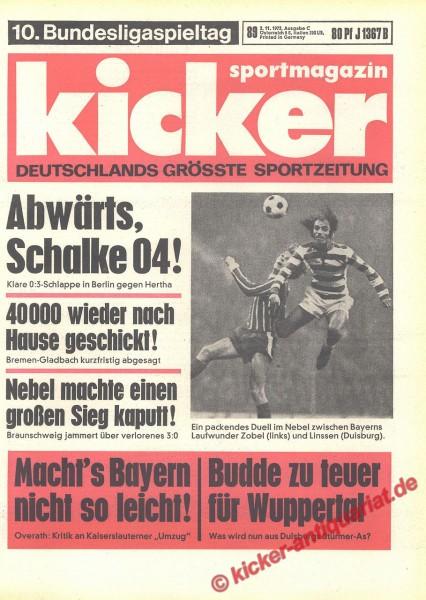 Kicker Sportmagazin Nr. 89, 2.11.1972 bis 8.11.1972