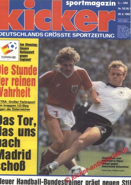 Kicker Sportmagazin Nr. 52, 28.6.1982 bis 4.7.1982