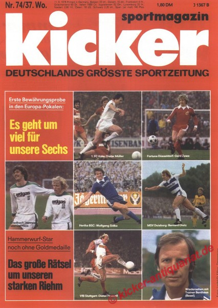 Kicker Sportmagazin Nr. 74, 11.9.1978 bis 17.9.1978