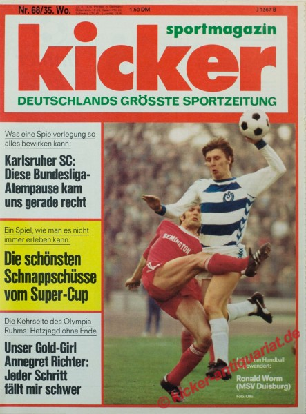 Kicker Sportmagazin Nr. 68, 23.8.1976 bis 29.8.1976