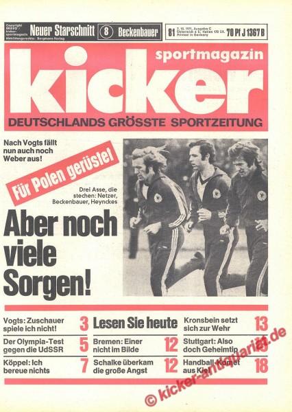 Kicker Sportmagazin Nr. 81, 7.10.1971 bis 13.10.1971