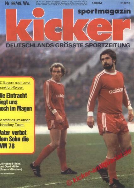 Kicker Sportmagazin Nr. 96, 28.11.1977 bis 4.12.1977