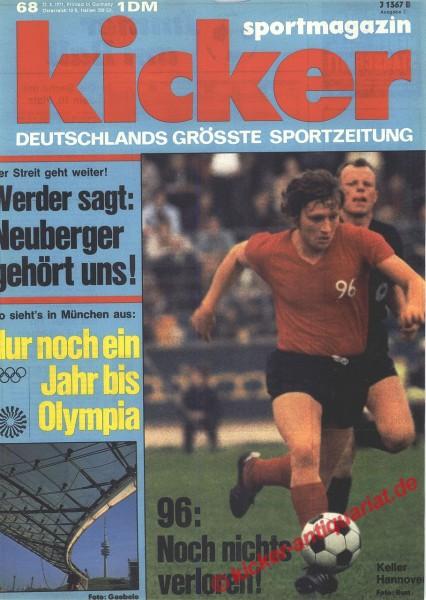 Kicker Sportmagazin Nr. 68, 23.8.1971 bis 29.8.1971