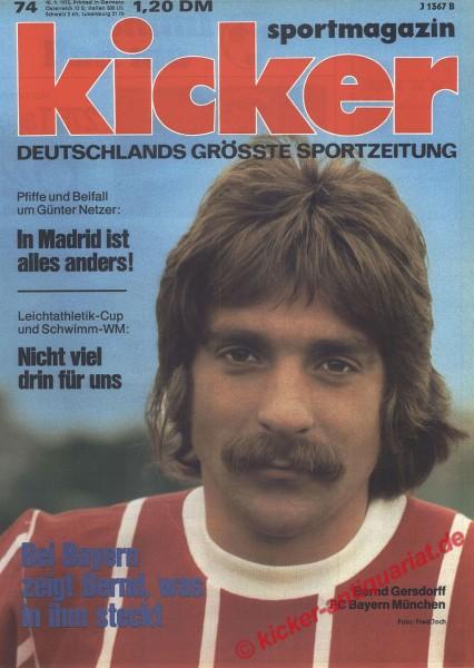 Kicker Sportmagazin Nr. 74, 10.9.1973 bis 16.9.1973