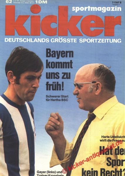 Kicker Sportmagazin Nr. 62, 2.8.1971 bis 8.8.1971
