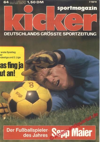 Kicker Sportmagazin Nr. 64, 11.8.1975 bis 17.8.1975