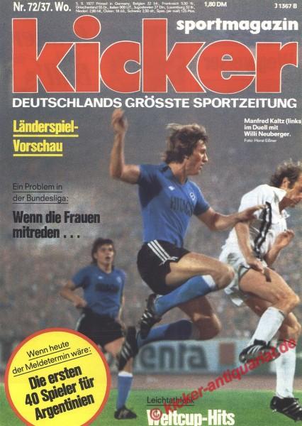 Kicker Sportmagazin Nr. 72, 5.9.1977 bis 11.9.1977