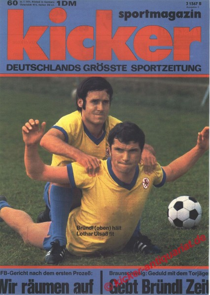 Kicker Sportmagazin Nr. 60, 26.7.1971 bis 1.8.1971