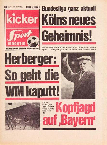 Kicker Sportmagazin Nr. 93, 19.11.1969 bis 25.11.1969
