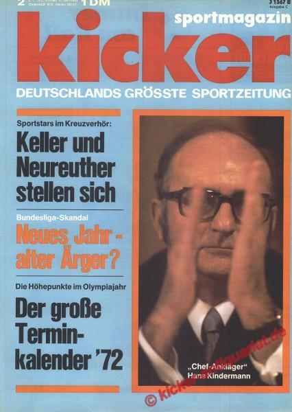 Kicker Sportmagazin Nr. 2, 1.1.1972 bis 7.1.1972