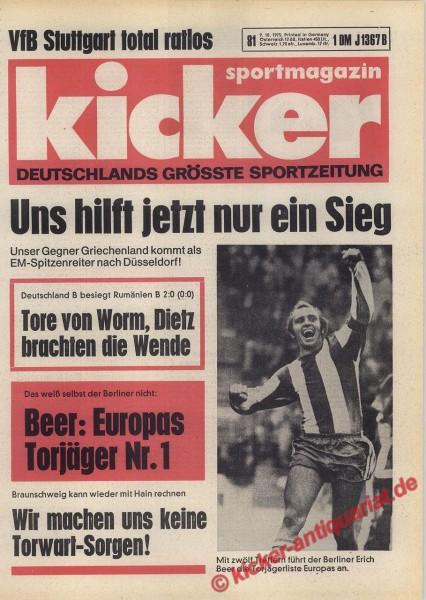 Kicker Sportmagazin Nr. 81, 9.10.1975 bis 15.10.1975