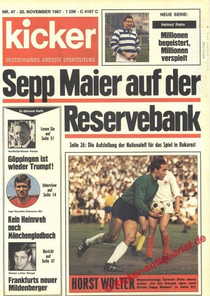 Kicker Sportmagazin Nr. 47, 20.11.1967 bis 26.11.1967
