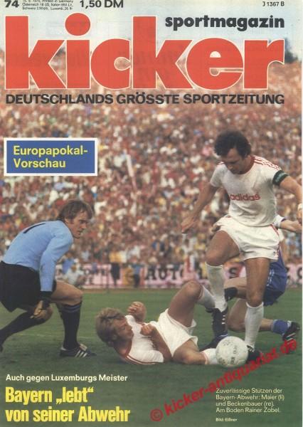 Kicker Sportmagazin Nr. 74, 15.9.1975 bis 21.9.1975
