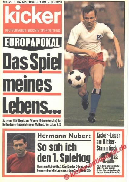 Kicker Sportmagazin Nr. 21, 20.5.1968 bis 26.5.1968