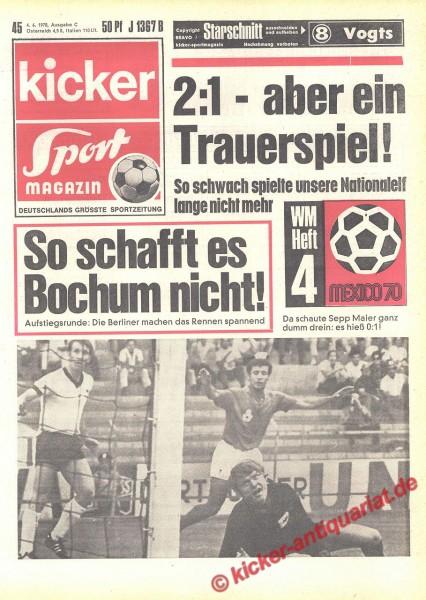 Kicker Sportmagazin Nr. 45, 4.6.1970 bis 10.6.1970
