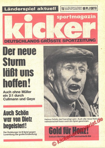 Kicker Sportmagazin Nr. 73, 5.9.1974 bis 11.9.1974