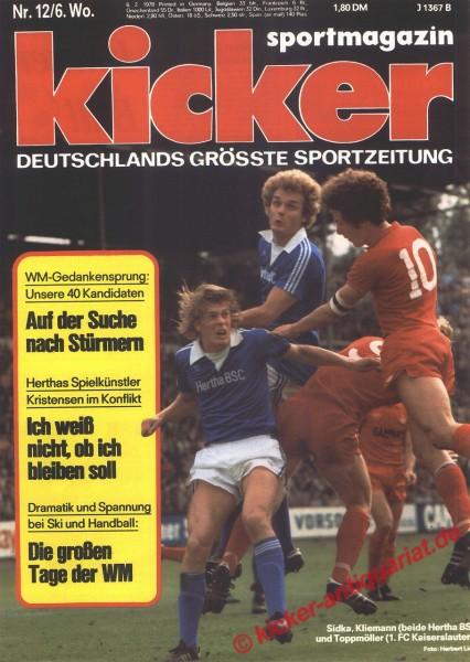 Kicker Sportmagazin Nr. 12, 6.2.1978 bis 12.2.1978