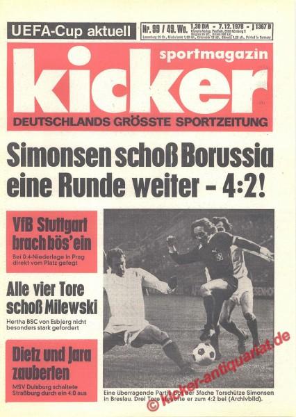 Kicker Sportmagazin Nr. 99, 7.12.1978 bis 13.12.1978