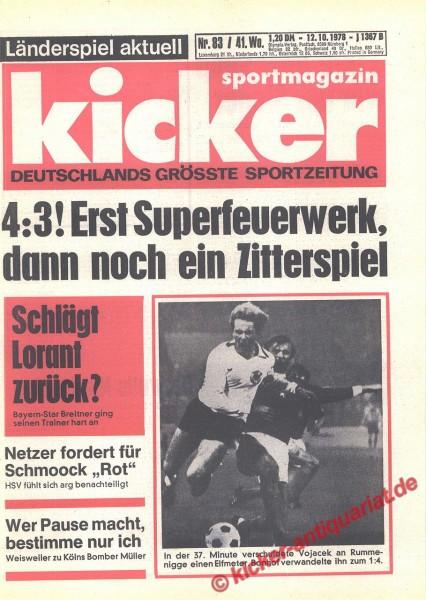 Kicker Sportmagazin Nr. 83, 12.10.1978 bis 18.10.1978