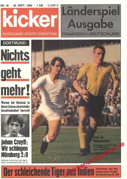 Kicker Sportmagazin Nr. 40, 30.9.1968 bis 6.10.1968