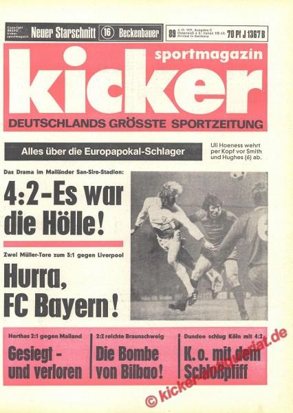 Kicker Sportmagazin Nr. 89, 4.11.1971 bis 10.11.1971