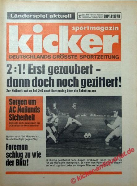 Kicker Sportmagazin Nr. 27, 28.3.1974 bis 3.4.1974