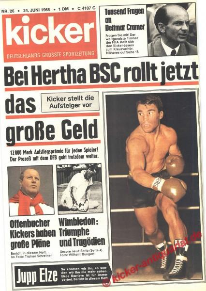 Kicker Sportmagazin Nr. 26, 24.6.1968 bis 30.6.1968