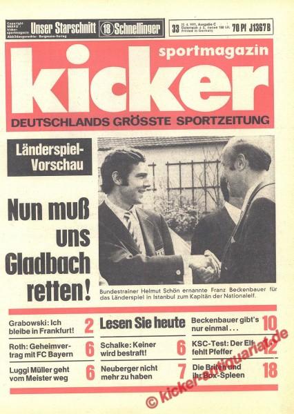Kicker Sportmagazin Nr. 33, 22.4.1971 bis 28.4.1971