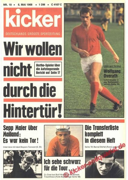 Kicker Sportmagazin Nr. 19, 6.5.1968 bis 12.5.1968