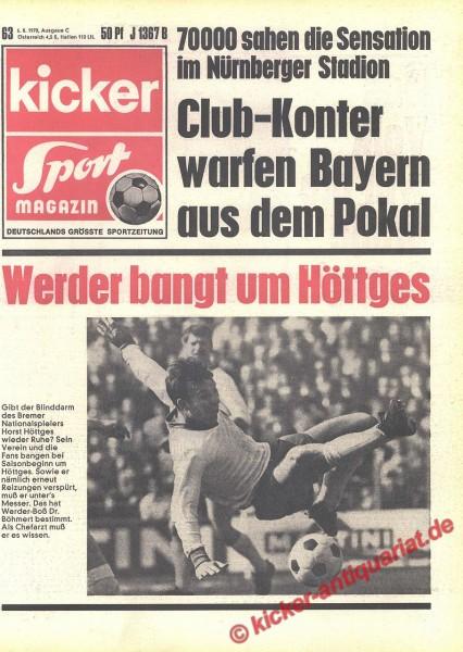 Kicker Sportmagazin Nr. 63, 6.8.1970 bis 12.8.1970