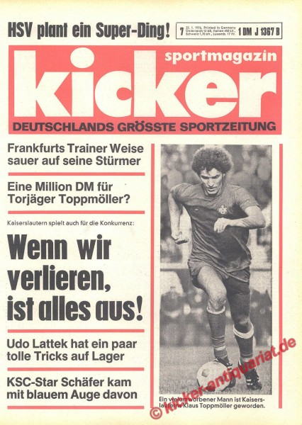 Kicker Sportmagazin Nr. 7, 22.1.1976 bis 28.1.1976