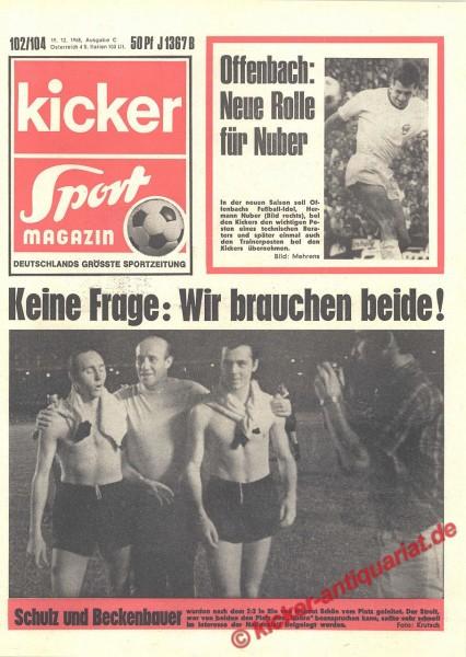 Kicker Sportmagazin Nr. 102, 19.12.1968 bis 25.12.1968