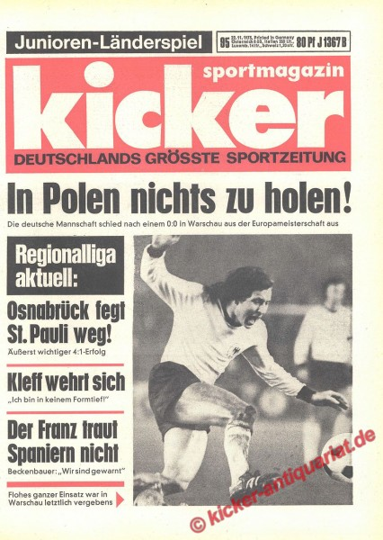Kicker Sportmagazin Nr. 95, 22.11.1973 bis 28.11.1973