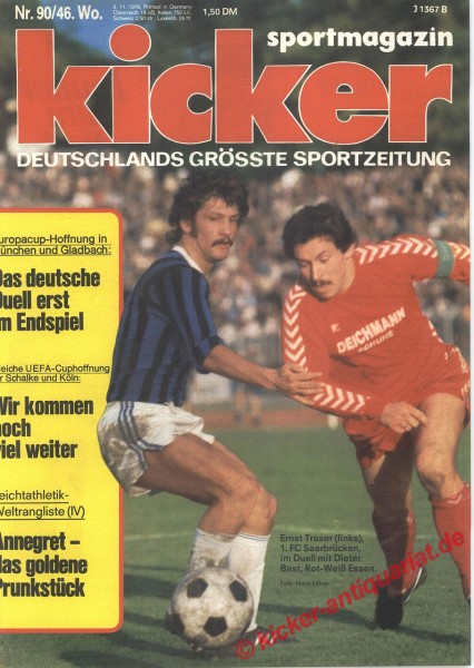Kicker Sportmagazin Nr. 90, 8.11.1976 bis 14.11.1976