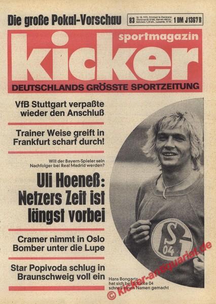 Kicker Sportmagazin Nr. 83, 16.10.1975 bis 22.10.1975