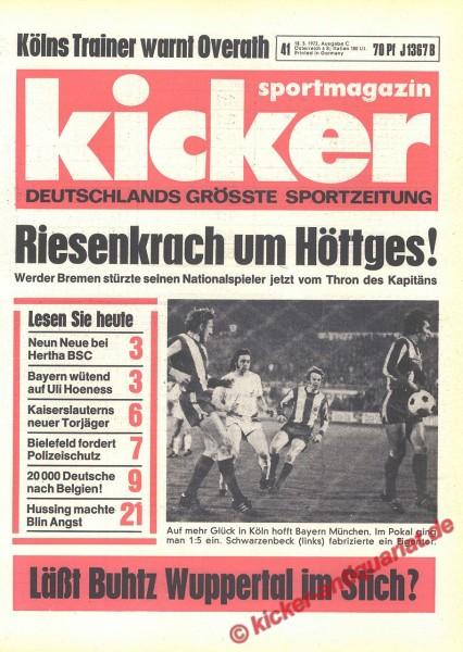 Kicker Sportmagazin Nr. 41, 18.5.1972 bis 24.5.1972