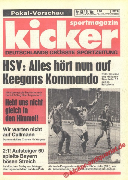Kicker Sportmagazin Nr. 61, 28.7.1977 bis 3.8.1977