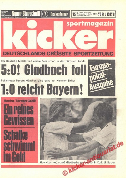 Kicker Sportmagazin Nr. 75, 16.9.1971 bis 22.9.1971