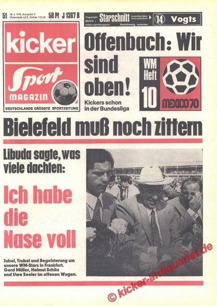 Kicker Sportmagazin Nr. 51, 25.6.1970 bis 1.7.1970