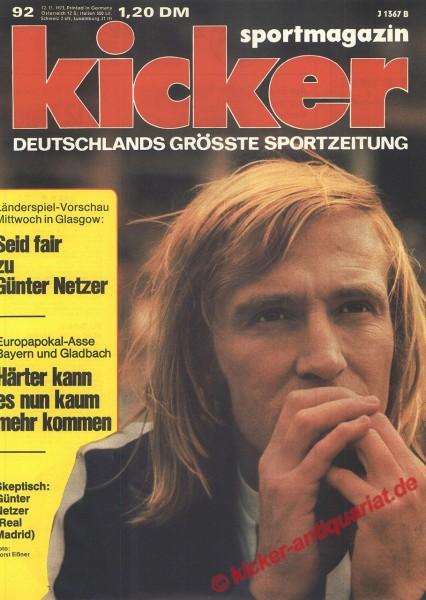 Kicker Sportmagazin Nr. 92, 12.11.1973 bis 18.11.1973