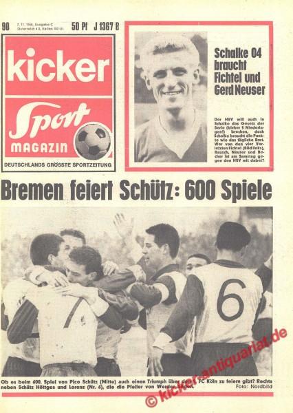 Kicker Sportmagazin Nr. 90, 7.11.1968 bis 13.11.1968