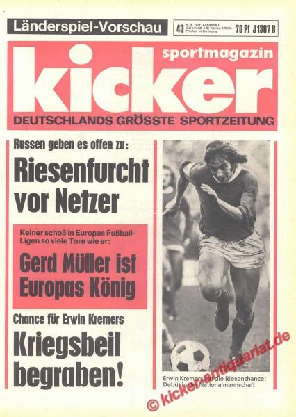 Kicker Sportmagazin Nr. 43, 25.5.1972 bis 31.5.1972
